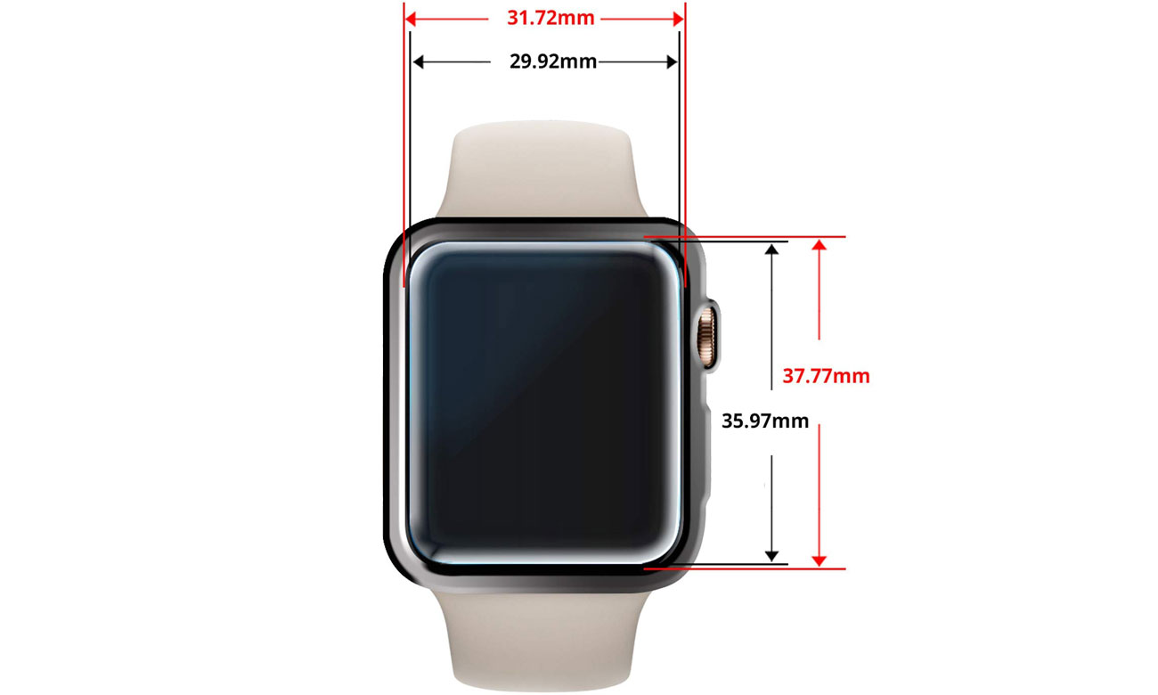 Whitestone Dome Glass do Apple Watch 4 (44mm) Wymiary