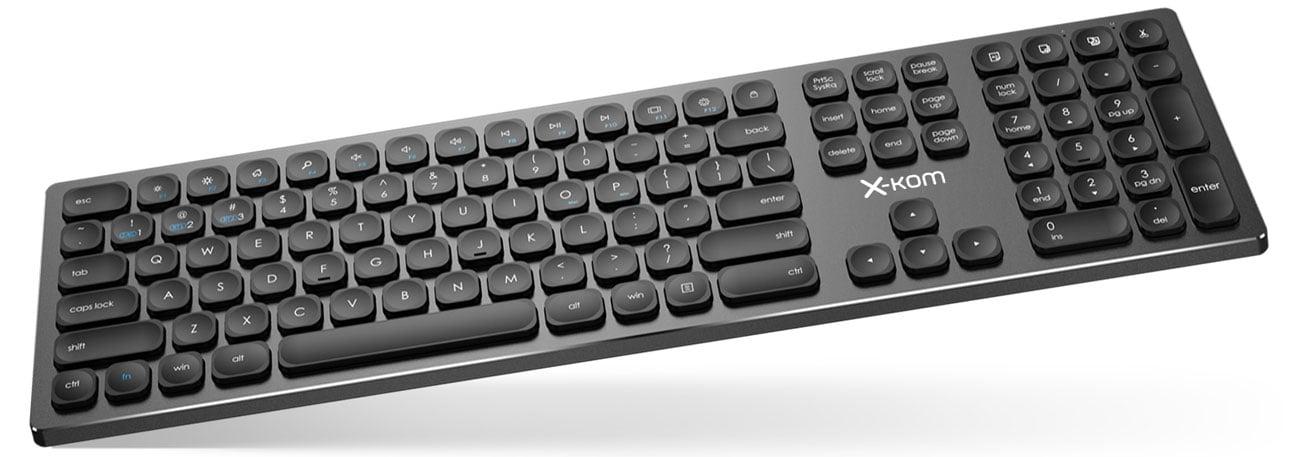 Klawiatura x-kom Aluminium Wireless Keyboard Czarna