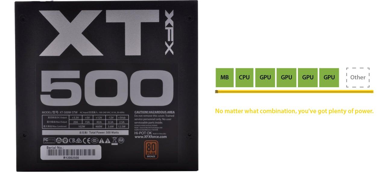 XFX 500W XT Series 80+ Bronze P1-500B-XTFR