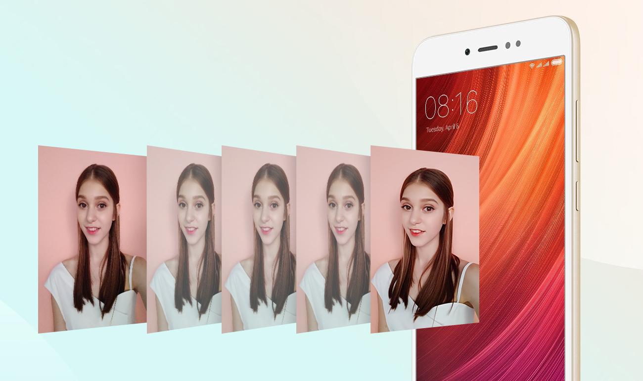 Xiaomi Redmi Note 5A Prime aparat selfie 16 Mpix przesłona autofocus PDAF tryb HDR