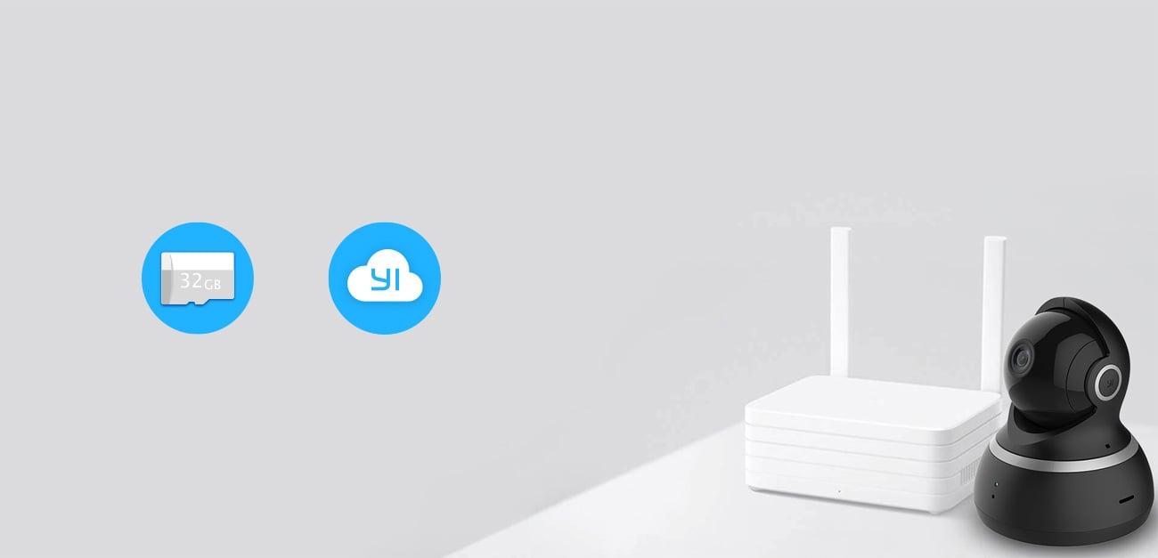 Yi Dome 1080p  Przechowywanie nagrań na karcie micro SD lub w chmurze