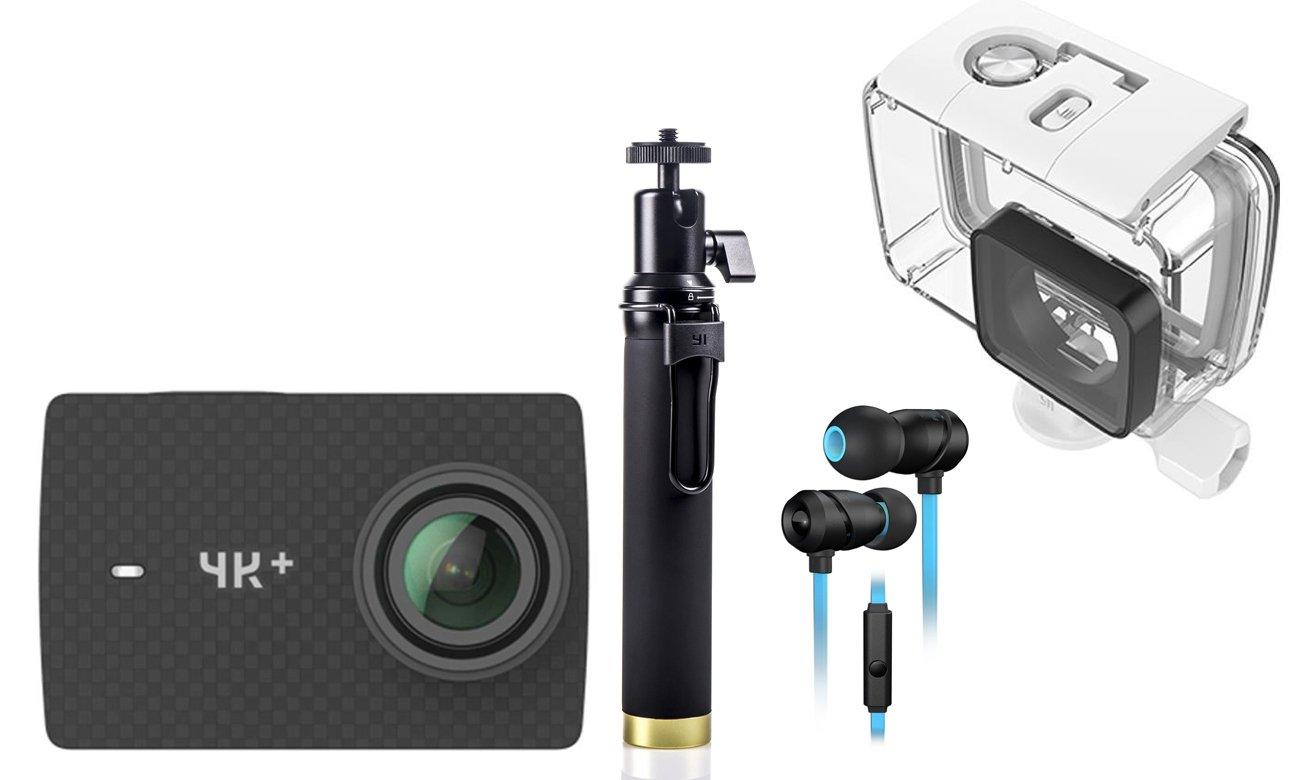 Kamera Action 4K, selfie stick oraz słuchawki