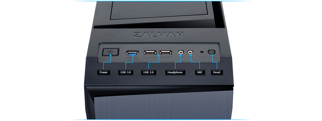 Zalman R1 czarna USB 3.0 panel sterujący USB