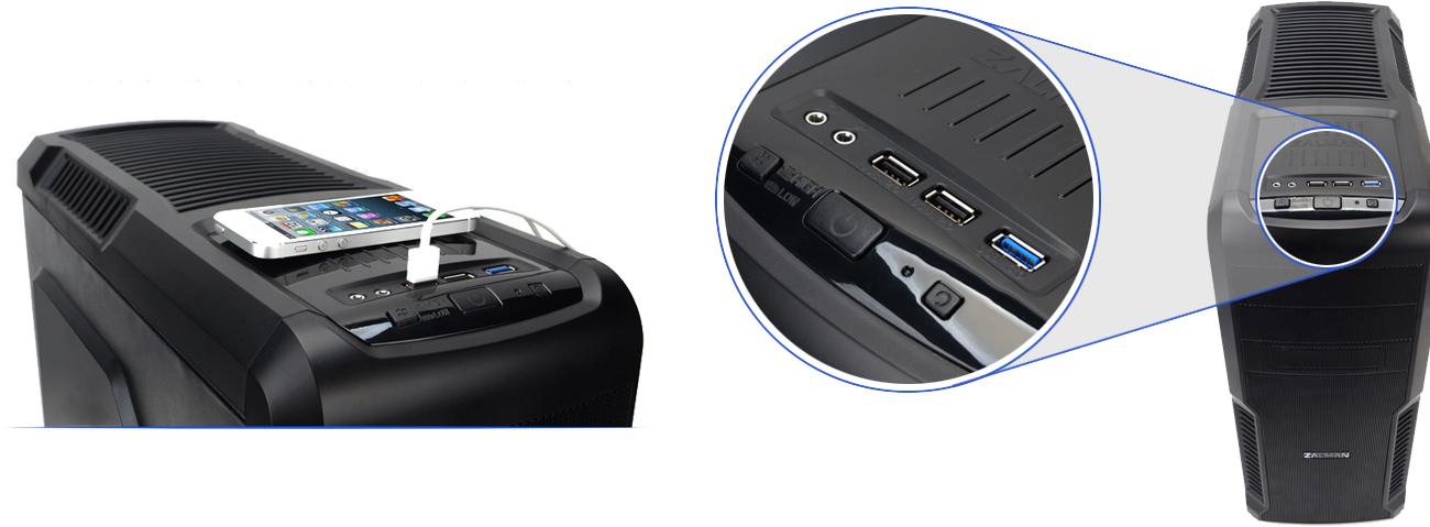 Zalman Z3 USB3.0 porty USB