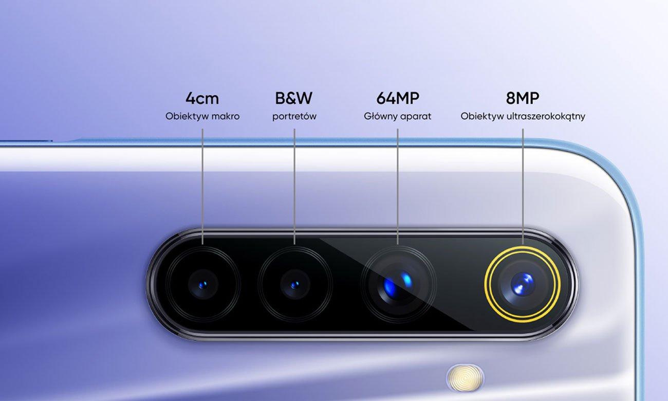 cztery aparaty, obiektyw 64 Mpix